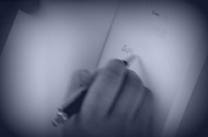 schrijven blauw